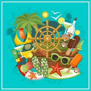 summer beach set - stock illustration