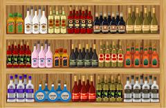 shop alcoholic beverages - stock illustration