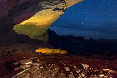 false kiva at night with starry sky - stock photo