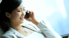 Successful Asian Chinese Businesswoman Leisure Hotel Accommodation Smart Phone Stock Footage