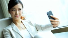 Female Asian Chinese Relaxing The Bund Penthouse Shanghai Smart Phone Selfie Stock Footage