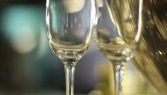 Crystal clear champagne glasses, reserved table in a restaurant, click for HD Stock Footage