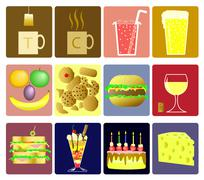 drink and snack icons - stock illustration