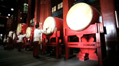 Chinese Musicians playing drums Drum Tower Beijing China Stock Footage