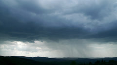 Storm with heavy rain over mountain Stock Footage