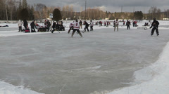 Pond hockey in Ontario Canada on freezing cold winter day Stock Footage