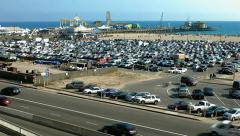 BlackMagic production camera - Santa Monica pier and beach panorama, California Stock Footage