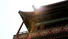 Drum Tower Beijing decorative ancient building China, Asia Stock Footage