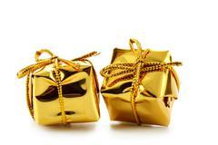 Two golden boxes - stock photo
