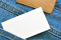 Visiting card in jeans pocket Stock Photos
