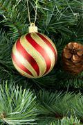 Stripy christmas ball Stock Photos