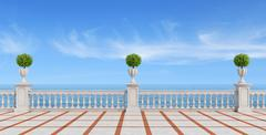 empty terrace overlooking the sea - stock illustration