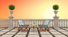 romantic aperitif at sunset - stock illustration