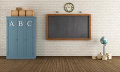empty vintage classroom - stock illustration