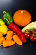 different paprika kinds and cucurbit - stock photo