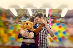 couple in visiting an attractions park  - shoot with lensbaby - stock photo