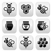 Bee and honey vector icons set - stock illustration