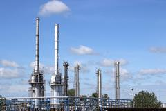 Petrochemical plant industry zone refinery Stock Photos