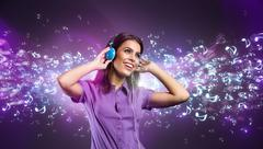 pretty young woman with headphones listening to music - stock illustration