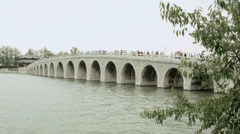 17 Arch Bridge Summer Palace Kunming Lake Beijing China Asia - stock footage
