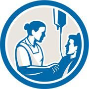 Nurse tending sick patient circle retro Stock Illustration