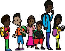 Group of Schoolchildren - stock illustration
