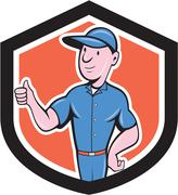 Handyman repairman thumbs up cartoon Stock Illustration