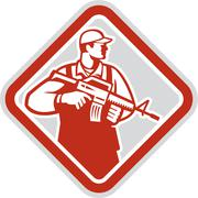 Soldier serviceman military assault rifle shield retro Stock Illustration