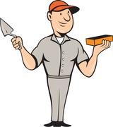 bricklayer mason plasterer standing cartoon. - stock illustration