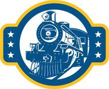 Steam train locomotive front retro Stock Illustration