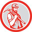 Stock Illustration of coal miner hardhat holding pick axe circle woodcut