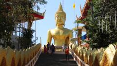 Pratumnak Hill and Big Golden Buddha statue in Pattaya, Thailand Stock Footage