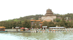 Summer Palace Kunming Lake temple Yiheyuan Beijing China  Asia Stock Footage