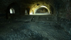 Interior of abandon stone Turkish castle with pan shoot  Stock Footage