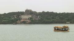 Summer Palace temple Kunming Lake pleasure boat Beijing China Asia Stock Footage
