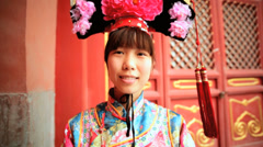 Travel Portrait Chinese female silk Kimono dress Beijing China Stock Footage