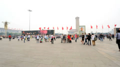 Tiananmen Square Monument to the Peoples Heroes Beijing Stock Footage