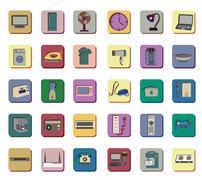 Icon set of electronic appliances Stock Illustration