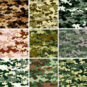 9 Set of camouflage pattern Stock Illustration