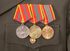Different awards and medals on the russian military uniform Stock Photos