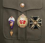 different awards and medals on the russian military uniform - stock photo