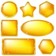 Stock Illustration of Golden buttons, set