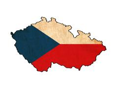 czech republic map on  flag drawing ,grunge and retro flag series - stock illustration