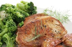 Roasted pork and broccoli Stock Photos