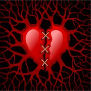 Stitched Red Heart Stock Illustration