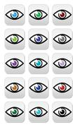 Eye colors sight icons set - vector icons set - stock illustration
