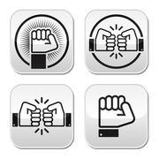 Fist, fist bump vector buttons set - stock illustration
