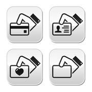 Hand holding credit card, business card, ID buttons set Stock Illustration