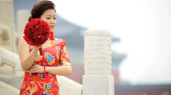 Female Chinese Bride Temple of Heaven Beijing China Asia - stock footage