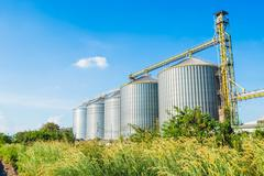 Factory manufacture animal feed with blue sky Stock Photos